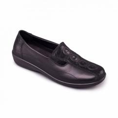 ADORA Ladies Leather EE/EEE Wide Fit Loafers Black