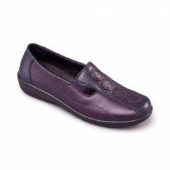 ADORA Ladies Leather EE/EEE Wide Fit Loafers Navy