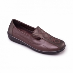 ADORA Ladies Leather EE/EEE Wide Fit Loafers Metallic