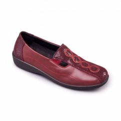 ADORA Ladies Leather EE/EEE Wide Fit Loafers Bordeaux