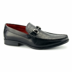 FABIANO Mens Faux Leather Reptile Loafers Black