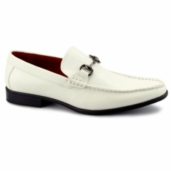 FABIANO Mens Faux Leather Reptile Loafers White
