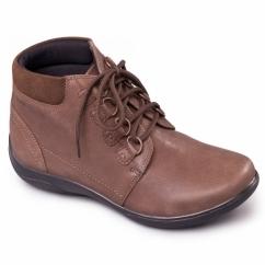 JOURNEY Ladies Waterproof Leather EEE/EEEE Wide Boots Taupe