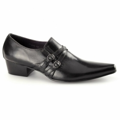 FRANCO Mens Leather Loafer Shoes Black