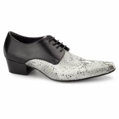 DANTE Mens Leather Derby Shoes Black/Python