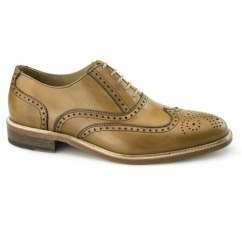 LUCIEN Mens Leather Oxford Brogue Shoes Tan