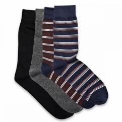 JJ CLASSIC MIX STRIPES Mens Cotton Socks 4 Pack Navy Blazer/Fudge