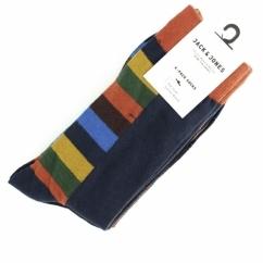 JJ CAP Mens Cotton Socks 4 Pack Navy Blazer/Black
