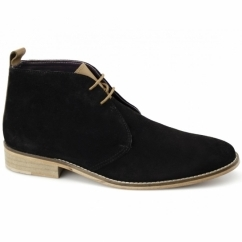 TAMAL Mens Suede Lace Up Chukka Boots Black