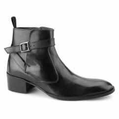 JOHN Mens Leather Cuban Heel Boots Black