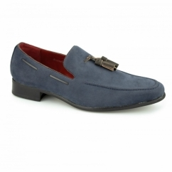 JERSEY Mens Faux Suede Loafer Shoes Blue