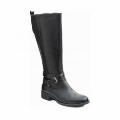 TESS Ladies Leather Zip Extra Wide Knee High Riding Boots Black