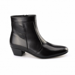 EMMANUEL Mens Plain Leather Cuban Heel Boots Black