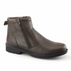 STREET 03 Mens Twin Zip Leather Warm Ankle Boots Brown