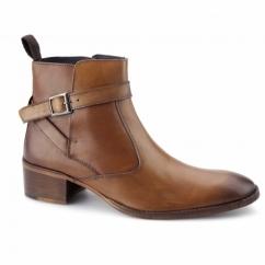 JOHN Mens Leather Cuban Heel Boots Tan