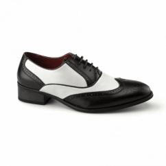 MALONE Mens Funky Brogue Cuban Heel Shoes Black/White