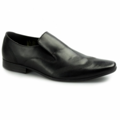 VINNIE Mens Leather Slip On Loafers Black