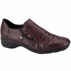 58353-35 Ladies Leather Slip On Shoes Red
