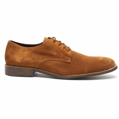 PRESTON Mens Suede Lace Up Desert Shoes Cognac