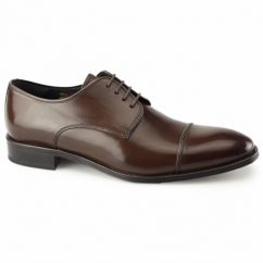 FINSBURY Mens Leather Derby Shoes Brown