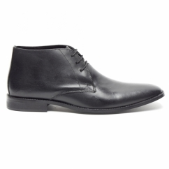 DUNN Mens Leather Lace Up Chukka Boots Black