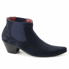 VEER III Mens Suede Winklepicker Cuban Heel Boots Royal Blue
