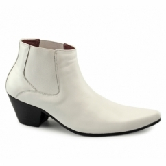 VEER III Mens Leather Winklepicker Cuban Heel Boots White