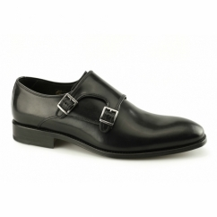 RIPON Mens Leather Double Monkstrap Shoes Black