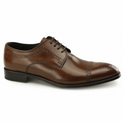 CHARTER Mens Leather Derby Brogue Shoes Tan
