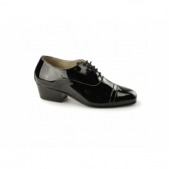 REYES Mens Patent Cuban Heel Lace Up Shoes Black