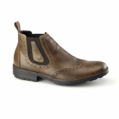 36081-25 Mens Leather Warm Brogue Chelsea Boots Brown
