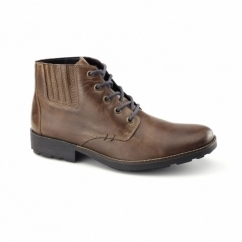 36013-25 Mens Leather Lace-Up Warm Chukka Boots Brown