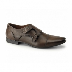 ALLEN Mens Leather Pointed Double Monkstrap Shoes Cognac