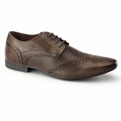 WILLIAM Mens Leather Pointed Brogues Cognac
