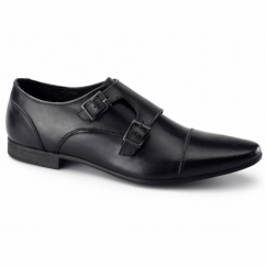 ALLEN Mens Leather Pointed Double Monkstrap Shoes Black