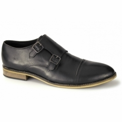 JACOBI Mens Leather Double Monkstrap Shoes Black