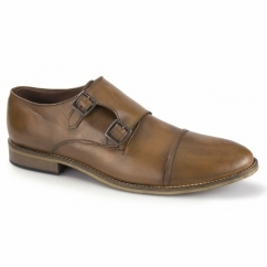 JACOBI Mens Leather Double Monkstrap Shoes Tan