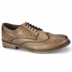 MARWOOD Mens Leather Derby Brogues Tan