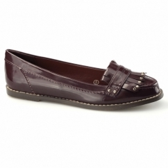 ROTTERDAM Ladies Fringe Loafers Burgundy