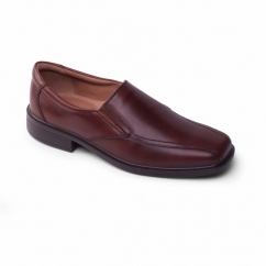 ALEX Mens Leather Slip-On Wide Fit Loafers Brown