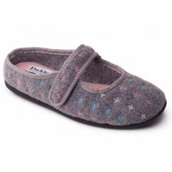 HEIDI Ladies Felt Wide Fit Velcro Slippers Grey