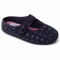 HEIDI Ladies Felt Wide Fit Velcro Slippers Navy