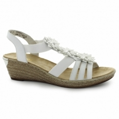 62461-80 Ladies Wedge Slingback Sandals White