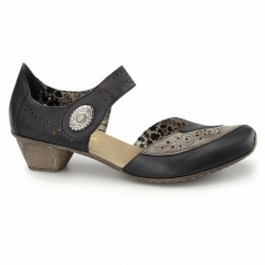 49757-00 Ladies Leather Touch Fasten Shoes Black