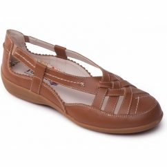 DELTA Ladies Leather Extra Wide Slip On Shoes Tan