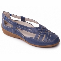 DELTA Ladies Leather Extra Wide Slip On Shoes Denim Blue