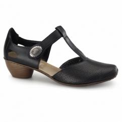 43730-00 Ladies Leather T-Bar Shoes Black