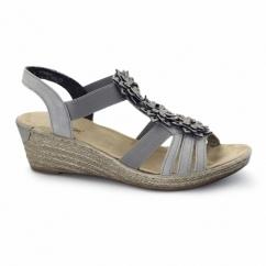 62461-43 Ladies Wedge Slingback Sandals Grey