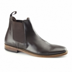 BELLAMY Mens Leather Welted Chelsea Boots Dark Brown