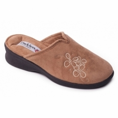 SABLE Ladies Extra Wide Fit Mule Slippers Camel